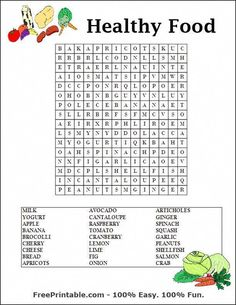 Word search puzzles printable - bing images for bo εκπαίδευσ Nutrition Activities, Kids Nutrition, Nutrition Education, Nutrition Guide, Nutrition Poster, Nutrition Month, Kids Word Search, Word Search Puzzles, Teaching English