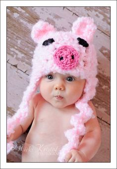 Baby Crochet Girl Pig Hat Photography Prop Pink Piggy -