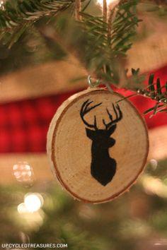 deer-silhouette-diy-wood-slice-ornament-upcycledtreasures