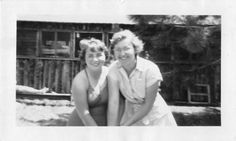 Black and White Vintage Snapshot Photograph 2 Women Smile Swimsuit 1950's