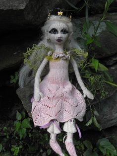 Fairy Princess, Amelia-Mahlee. Hand knit, facial features are needle felted.