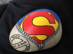 """I teach, what is your superpower."" A Stone made for my sons teacher. By Lene Mortensen"