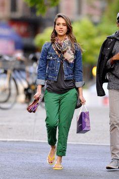 colored pants & jean jacket.. love it