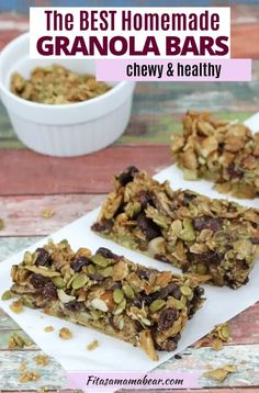 A speedy, portable, and nourishing snack made with real-food ingredients. This homemade chewy granola bar recipe contains mini chocolate chips and dried fruit for sweetness and comes with a nutty, indulgent flavor. Plus, these chewy granola bars are kid-approved! #trailmix #granolabar #granolahealthy #granolabarrecipe #healthysnacksforkids #healthysnacksrecipes