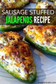 Sausage Stuffed Jalapenos are the ultimate appetizer or side dish to pair with your dinner. Tender jalapenos that are stuffed with sausage, and loads of cheese. Jalapeno Recipes, Bacon Recipes, Spicy Recipes, Mexican Food Recipes, Cooking Recipes, Recipes With Jalapenos, Jam Recipes, Jalapeno Poppers With Sausage, Sausage Stuffed Jalapenos