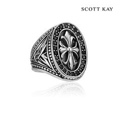 Scott Kay's Mens Faith Collection - Mens Sterling Silver Engraved Oval Cross Ring with Black Sapphire Frame (Product Style: GR2681SPABSM) #ScottKay #MensFashion