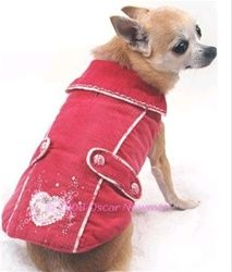 Posh Puppy Boutique is a shop for designer dog clothes and accessories -Raspberry Corduroy Vintage Coat puppy Apparel - Coats, pet toys, collars, luxurious carriers, treats, stunning bowls, diaper, belly bands, fancy id tags, harnesses, unique apparel
