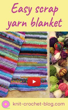 Easy scrap yarn scarf or blanket, crochet tutorial. Step by step instructions. Use up your stash by creating a beautiful colorful scarf or blanket. Learn to crochet. Crochet Blanket Tutorial, Crochet Instructions, Afghan Crochet Patterns, Blanket Crochet, Crotchet Patterns, Scrap Yarn Crochet, Crochet Scarves, Knitting Yarn, Knit Crochet