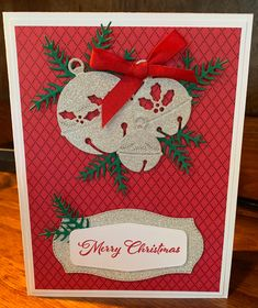 Winter Cards, Holiday Cards, Christmas Cards, Merry Christmas, Holiday Decor, Stampin Up, Red Ribbon, Tis The Season, Whisper