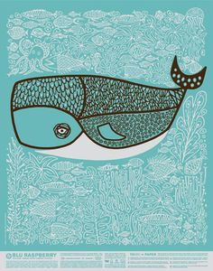 raspberri, illustrations, blue, art, papers, posters, design, print, whales