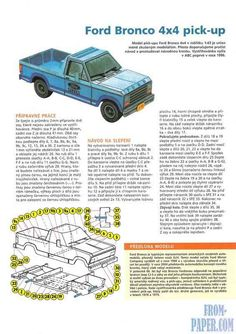 ABC 2007/05 Ford Bronco 4x4 pick-up - model of the American SUV of the 90s of the XX century from paper download for free without registration