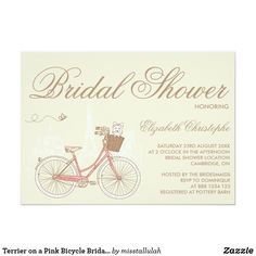 Tandem bicycle bridal shower card bridal shower pinterest sweet terrier on a pink bicycle bridal shower invitation from zazzle filmwisefo
