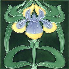 Iris, Tube Lined Art Nouveau Tile