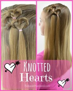 We're excited to share another Valentine's Day heart hairstyle with you today. This one uses the same technique you use for our Knotted Fishbone braid hairstyle, so if you've tried that one, this will Valentine's Day Hairstyles, Little Girl Hairstyles, Braided Hairstyles, Hairstyle Ideas, Toddler Hairstyles, Teenage Hairstyles, Makeup Hairstyle, Hairdos, Natural Hairstyles