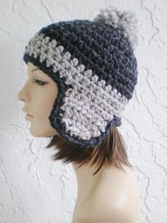 hand crochet earflap hat trapper russian bomber aviator by annmag
