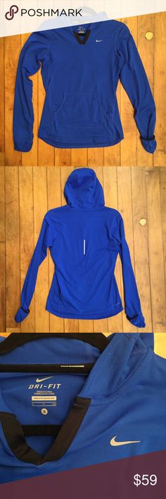 New Nike reflective blue v-neck hoodie size small Like new condition, as seen in pictures! Fast same or next day shipping!📨 Open to offers but I don't negotiate in the comments so please use the offer button😊 Nike Jackets & Coats