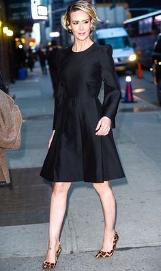 Image result for sarah paulson on colbert fashion