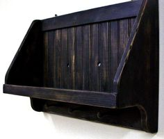 Rustic Amish black Primitive shelf with shaker pegs by MVwoodworks