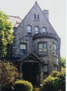 The Castle (Delta Phi Epsilon House, detail of entrance, May 2003), Widener University