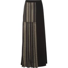 Zeus+Dione Pleated metallic-trimmed silk maxi skirt (2,360 CNY) ❤ liked on Polyvore featuring skirts, black, long maxi skirts, silk maxi skirt, long pleated maxi skirt, ankle length skirts and long skirts