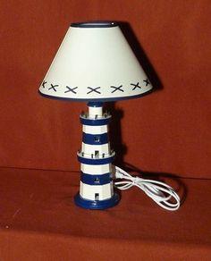 Lampada tavolo FARO MARITTIMO bianco blu H. 41 cm scrivania camera