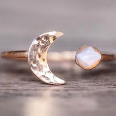 Our Rose Gold Little Raw Opal and Moon Ring || Also available in Silver and Gold || Shop it now in our 'Mermaid' collection || www.indieandharper.com