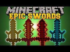 Minecraft: EPIC SWORDS (ELEMENTAL SWORDS AND UPGRADES) Cyan Warrior Swords Mod Showcase