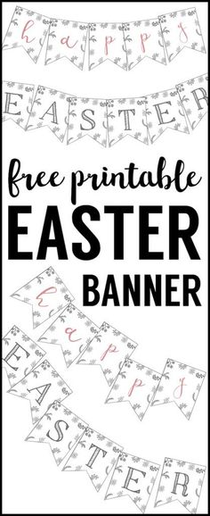 Happy Easter Banner Printable. This Happy Easter banner free printable is fun easy DIY decor for this Spring. Cute Easter Decorations.