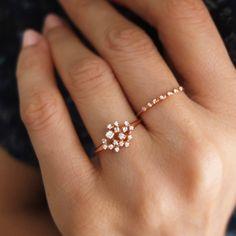 Morganite Engagement Ring Set Rose and White Gold Morganite Rings Floral Engagement Ring with Matching Diamond Band - Fine Jewelry Ideas Diamond Cluster Ring, Diamond Bands, Diamond Jewelry, Gold Jewelry, Diamond Earrings, Fine Jewelry, Gold Bracelets, Jewelry Rings, Ruby Jewelry