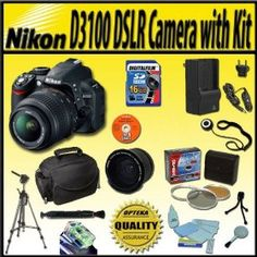 Nikon D3100 14.2MP Digital SLR Camera with 18-55mm f/3.5-5.6 AF-S DX VR Nikkor Zoom Lens and Extreme Accessory kit - Package includes: 1H Rapid travel charger, Image Recall software, Camera and accessory carry bag, Opteka 0.35x Fisheye lens converter, Travel Tripod, 16GB high speed SD memory card and Much More!   Price:$749.00