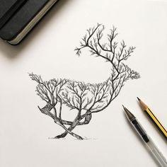 disegni-inchiostro-animali-alberi-alfred-basha-05 - KEBLOG