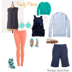 Pawleys Island Posh: Family Pictures Outfit Ideas & pink pants update  If only I could wear pink skinny jeans :) Love the color palette though