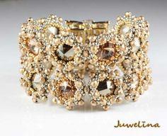Juwelina - Armschmuck mit Swarovski Kristallen in Bronze-Gold