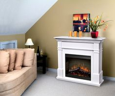 A Dimplex Kenton Fireplace Mantel can be set up in minutes, to bring home a realistic flame allure that doubles up as an electric heater. Dimplex Fireplace, Faux Fireplace, Fireplace Mantels, Mantle, Fireplaces, Fireplace Suites, Log Fires, Electric Fires, Gas Logs