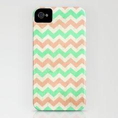 coral mint chevron iPhone Case by Sandra Arduini - $35.00