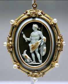 Cameo with Claudius as Jupiter, Roman, ca 150 A.D., frame 16th century.41-54 AD…