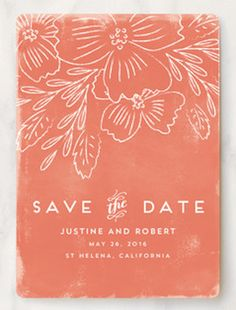 simple coral save the date card