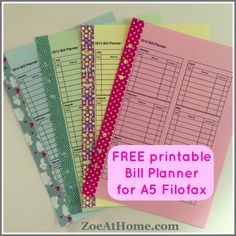 Free printable PDF Bill Budget Planner for A5 Filofax ZoeAtHome.com.  Printed on pastel paper and reinforced sides with washi tape.
