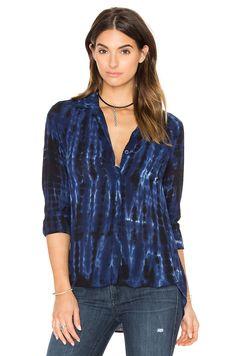 Bella Dahl Tie Dye Pocket Button Down in Blue Indigo