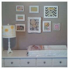 Nursery Wall Collage Frame Diffe Fabrics In All White Frames Love The Framed