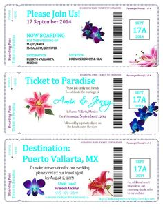 Best boarding pass invitations with pdf templates!