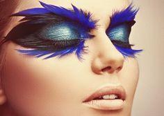 Bird eye makeup w/feathers for Halloween