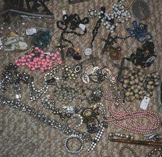 vintage rosaries, medals & rhinestones ~ oh my !  #fleamarkethaul