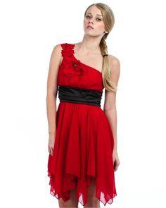 Red/Black One Shoulder Party Dress