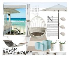 """Beach house"" by gelykou ❤ liked on Polyvore featuring interior, interiors, interior design, home, home decor, interior decorating, Dot & Bo, Dash & Albert, Bloomingville and CB2"