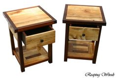 Beautiful Two-Tone Reclaimed Antique Barn Wood Red Cedar Golden Oak End Tables, Book Stand, Night Stand Vacation Furniture Custom Wood Furniture, Diy Home Furniture, Diy Pallet Furniture, Furniture Ideas, Oak End Tables, Side Tables, End Table Plans, Wood Nightstand, Bedroom Night Stands