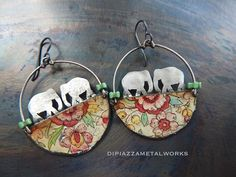 Vintage tin and silver double elephant hoop by DiPiazzaMetalworks