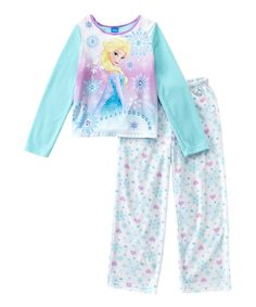 Look at this Frozen Elsa Ice Blue Microfleece Pajama Set - Girls on #zulily today!