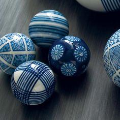 Black And White Decorative Ceramic Balls Decorative Porcelain Ballsset Of 6  Rosettes Porcelain And Delft