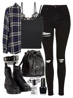 """""""Requested outfit"""" by ferned ❤ liked on Polyvore featuring Topshop, Hanky Panky, H&M, OPI and Dr. Martens"""